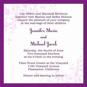 email wedding invitations square white purple floral With wedding invitations messages by bride