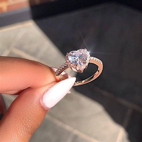 2019 silver plated crystal love heart shaped ring for wedding engagement bridal wedding