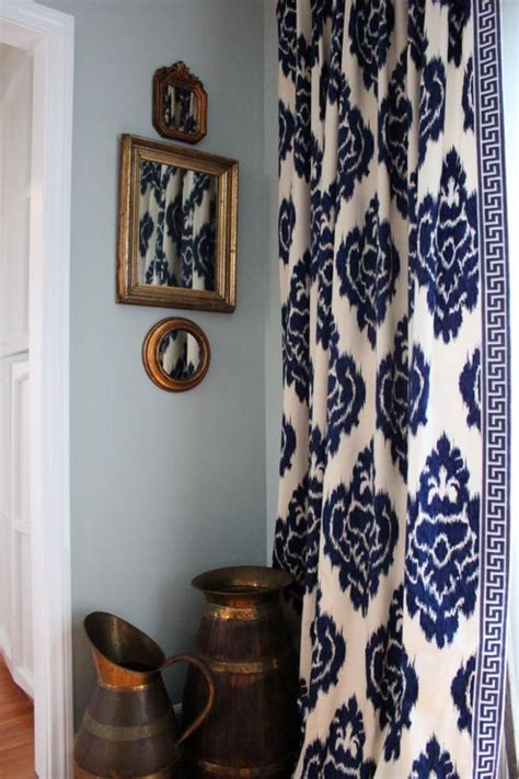 the curtains navy blue and white ikat pattern with