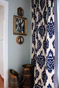 Love the curtains navy blue and white ikat pattern with for Light blue patterned curtains