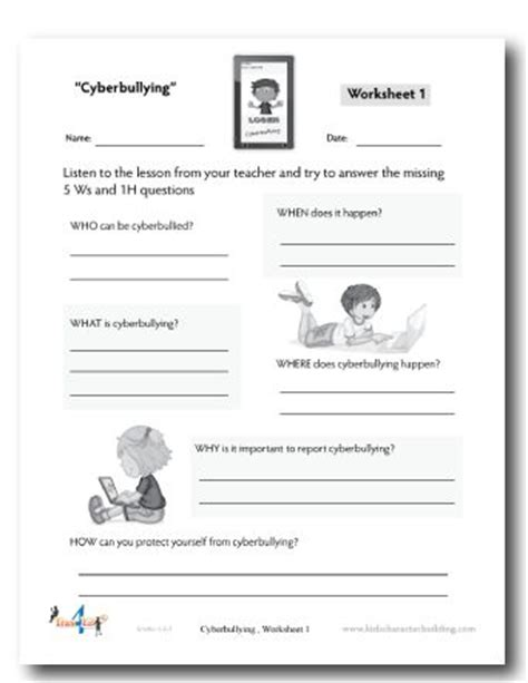 cyberbullying worksheet school work stuff