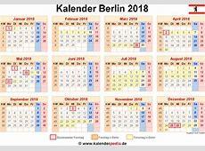 Kalender 2018 Berlin Ferien, Feiertage, ExcelVorlagen