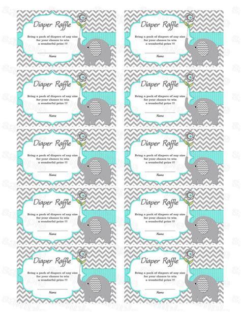 elephant baby shower diaper raffle ticket diaper raffle card