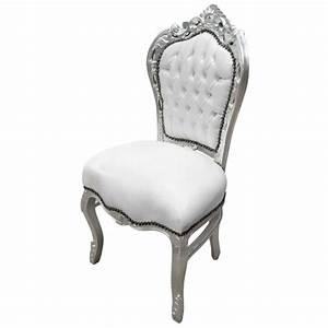 Chaise Bois Blanc : chaise de style baroque rococo simili cuir blanc et bois argent ~ Teatrodelosmanantiales.com Idées de Décoration