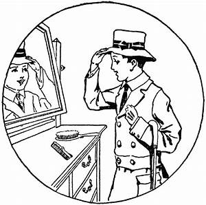 Boy Trying on Hat and Looking at His Reflection | ClipArt ETC