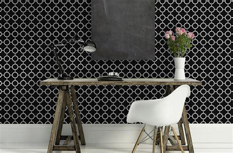 decoration chambre londres papier peint motifs géométriques rond en noir et blanc oslo