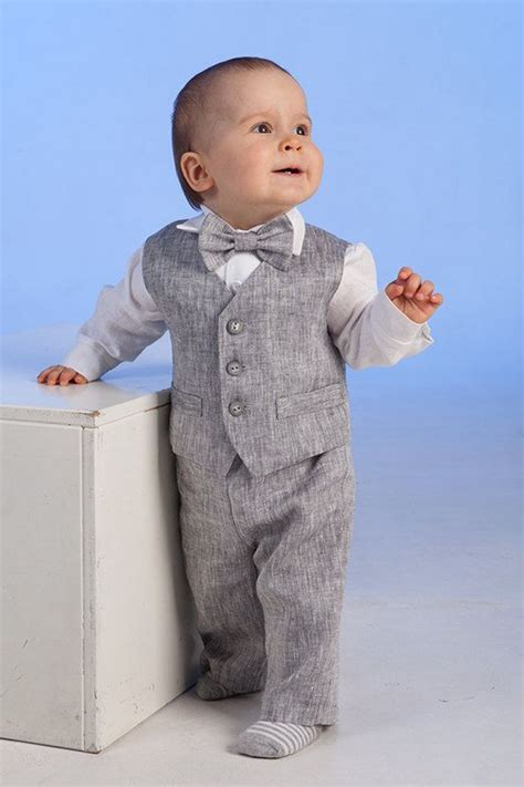 Baby boy linen cotton suit baptism christening outfit baby boy clothes ring bearer baby boy ...