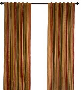 silk taffeta chocolate and red stripes curtain panel