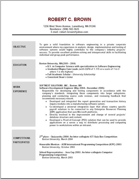 Exles Of Resume Objective by Exles Of Resumes Best Photos Printable Basic Resume Templates Free With Regard To Sle 87