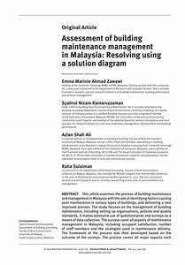 Pdf  Assessment Of Building Maintenance Management In Malaysia  Resolving Using A Solution Diagram
