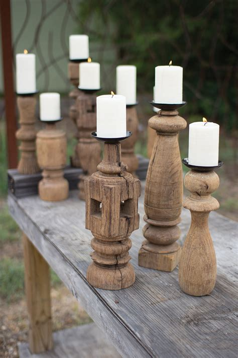 set   reclaimed wooden furniture leg candle holders