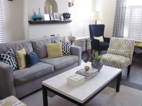 blue yellow decor ideas  living room front main