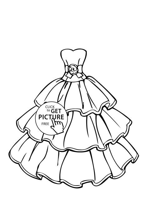 Wedding Dress Beautiful Coloring Page For Girls Printable