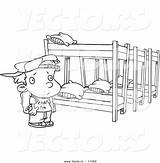 Coloring Bed Camp Bunk Outline Cartoon Canopy Summer Template Sketch sketch template