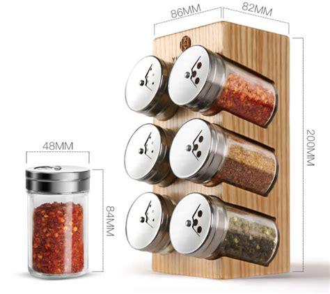 Spice Bottle Holder by Wooden Spice Rack Stand Holder With 6 Bottles Feelgift