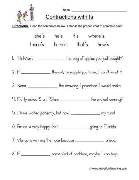 contractions worksheet  fun teaching