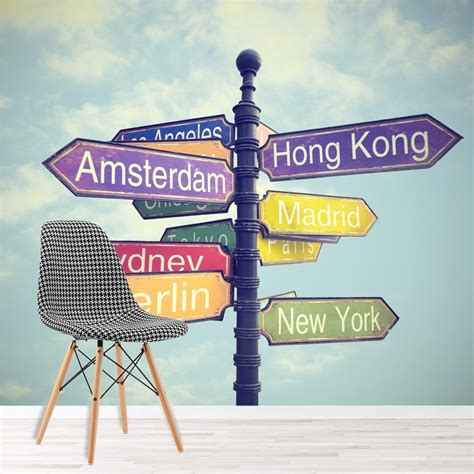 world city signs wall mural travel photo wallpaper bedroom