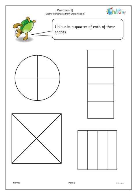 quarters  fraction worksheets  year  age