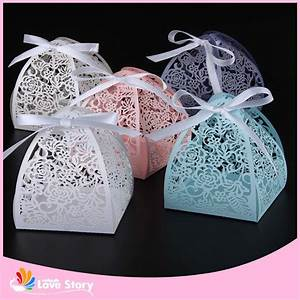 50pcs rose flower laser cutting candy box wedding favors With chocolate box wedding favors