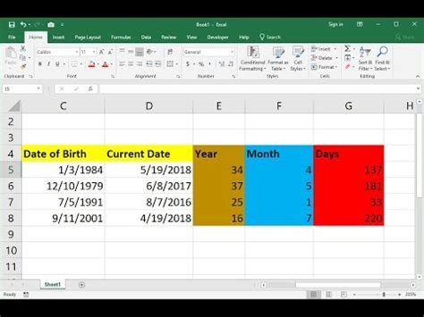 ms excel   calculate age  year month days youtube