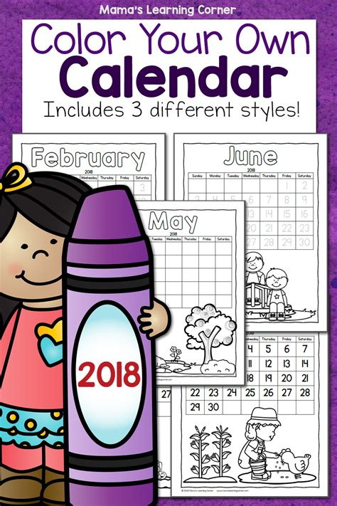 color your color your own calendar 2018 mamas learning corner