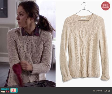 WornOnTV: Spencer's beige cable knit sweater with split ...