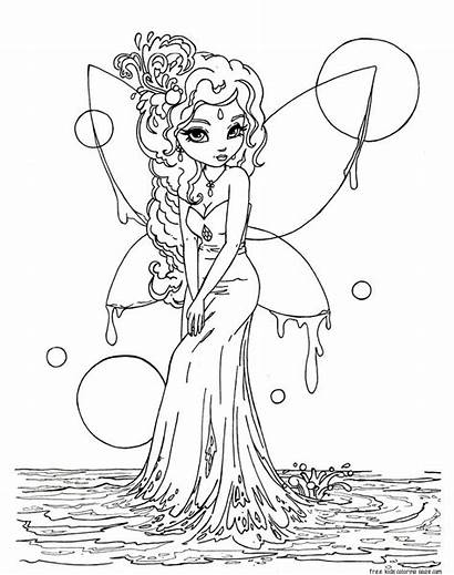 Coloring Fairy Pages Printable Water Fairies Adult
