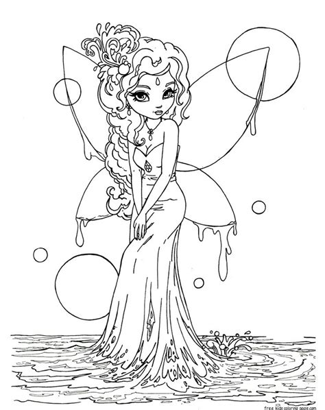 Printable beautiful Fairy on Water coloring in pages for
