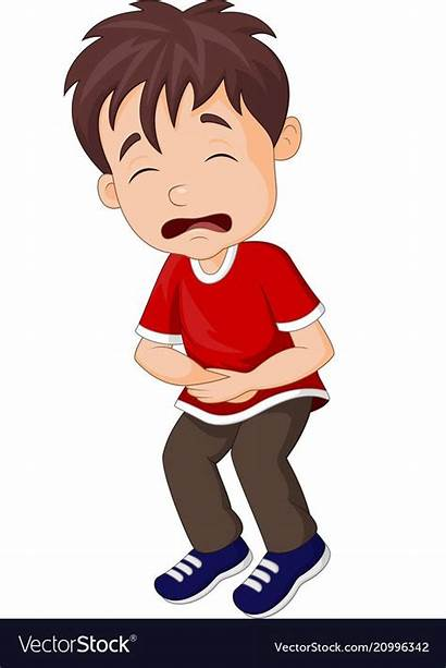 Ache Boy Stomach Clipart Suffering Cartoon Young