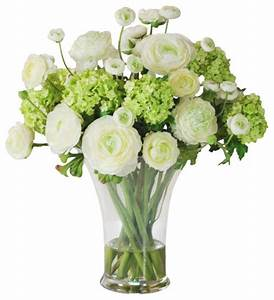 Faux Ranunculus Arrangement in Glass Vase - Traditional