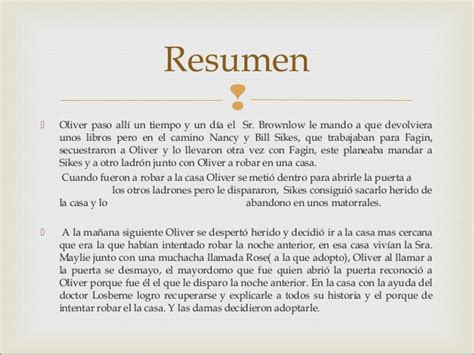 Oliver Twist Resumen Capitulos by Trabajo Oliver Twist