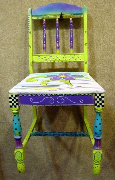 hand painted chair  fabric purple teal lime