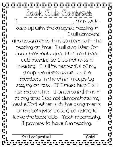 Book Club Contract   Teachers-PIN-Teachers   Book club