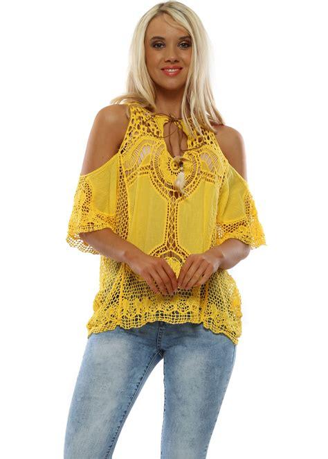 Women's Yellow Top | Yellow Cold Shoulder Top | Designer ...