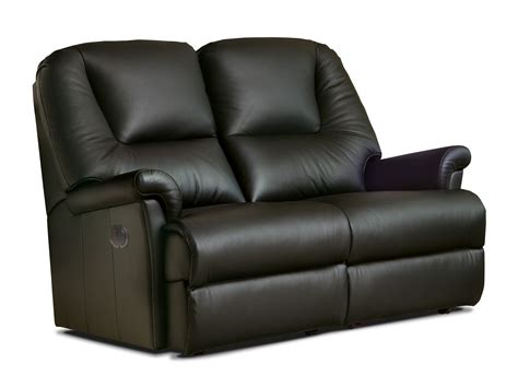 Reclining Settees by Milburn Leather Reclining 2 Seater Settee
