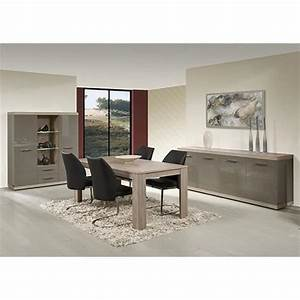 salle a manger complete gris laque et couleur chene clair With salle a manger couleur