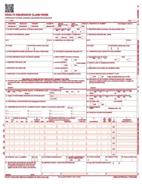 Cms  Hcfa 1500 Health Insurance Claim Forms 25 Sheets 02