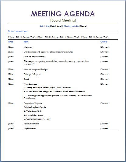 meeting itinerary 10 formally used agenda templates formal word templates