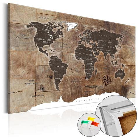 toile carte du monde tableau en li 232 ge carte du monde mosa 239 que effet bois tableau et toile d 233 coration murale