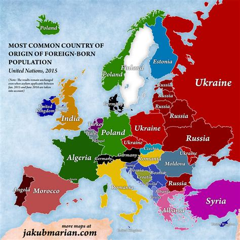 immigration in europe map of the percentages and