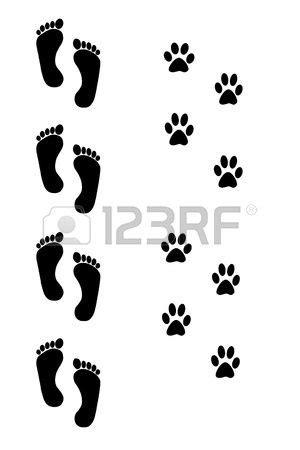 Dog and human footprints over white background | Tattoos I like | Tatuajes perros, Tatuajes, Huellas