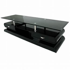 Meuble Salon Noir : meuble tv monza tele lcd plasma laque noir meuble tv topkoo ~ Teatrodelosmanantiales.com Idées de Décoration