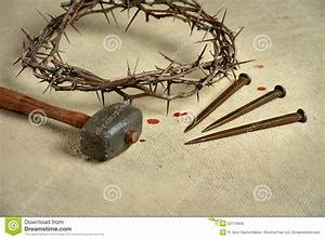 Crown Of Thorns With Nails And Mallet Stock Photo - Image