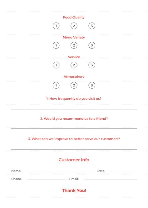 Restaurant Customer Comment Card Template in PSD, Word