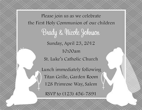 communion invitation twins party planning