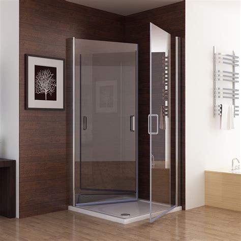 Duschabtrennung glas faltbar eckeinstieg 100x100 bodeneinbau : Shower Enclosure Corner Entry Frameless Pivot Door Hinged 6mm NANO Glass | eBay