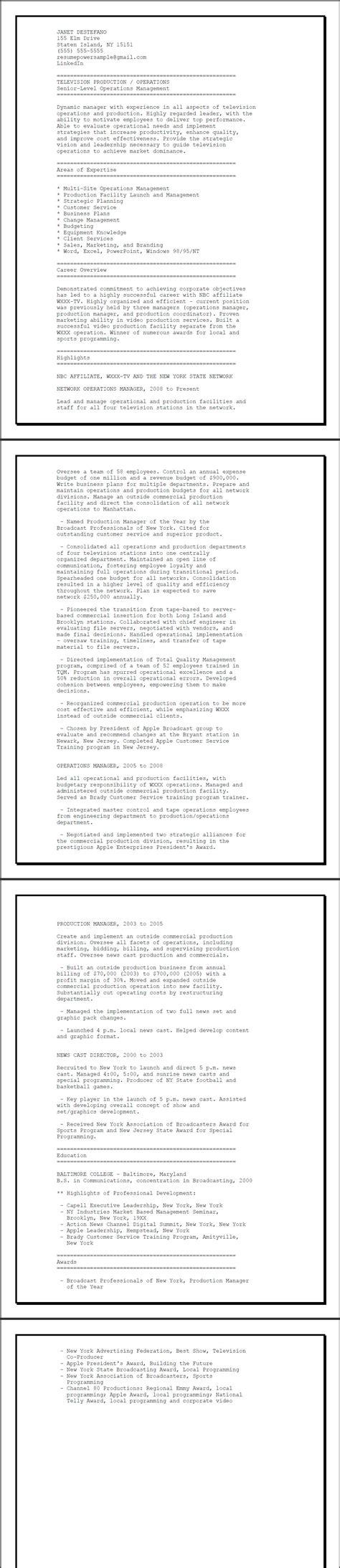 Ascii Resume by Tv Network Operations Sle Ascii Resume Resumepower