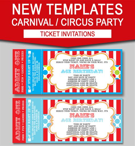editable carnival ticket invitations circus  carnival