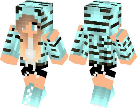 cute blue tiger girl minecraft skin minecraft hub
