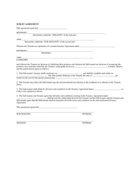 sublease agreement form california
